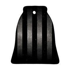 Stripes1 Black Marble & Gray Metal 1 Bell Ornament (two Sides)