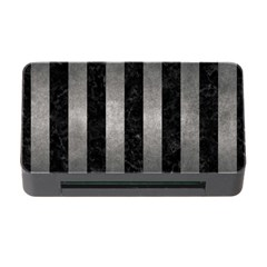 Stripes1 Black Marble & Gray Metal 1 Memory Card Reader With Cf