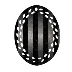 Stripes1 Black Marble & Gray Metal 1 Ornament (oval Filigree)