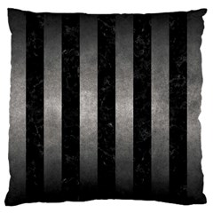 Stripes1 Black Marble & Gray Metal 1 Large Cushion Case (two Sides)