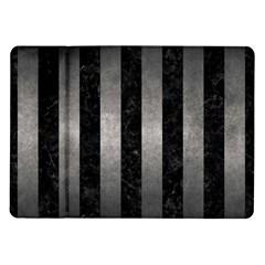 Stripes1 Black Marble & Gray Metal 1 Samsung Galaxy Tab 10 1  P7500 Flip Case