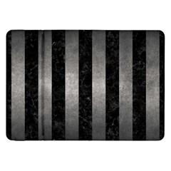 Stripes1 Black Marble & Gray Metal 1 Samsung Galaxy Tab 8 9  P7300 Flip Case