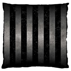 Stripes1 Black Marble & Gray Metal 1 Large Flano Cushion Case (one Side)