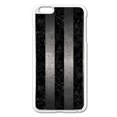 Stripes1 Black Marble & Gray Metal 1 Apple Iphone 6 Plus/6s Plus Enamel White Case