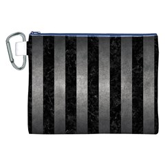 Stripes1 Black Marble & Gray Metal 1 Canvas Cosmetic Bag (xxl)