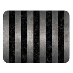 Stripes1 Black Marble & Gray Metal 1 Double Sided Flano Blanket (large)