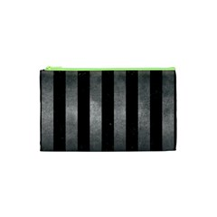 Stripes1 Black Marble & Gray Metal 1 Cosmetic Bag (xs)