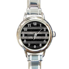Stripes2 Black Marble & Gray Metal 1 Round Italian Charm Watch