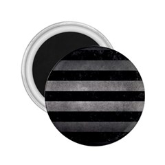 Stripes2 Black Marble & Gray Metal 1 2 25  Magnets