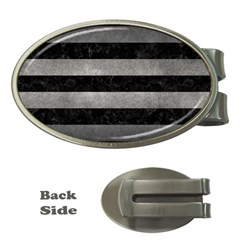 Stripes2 Black Marble & Gray Metal 1 Money Clips (oval)