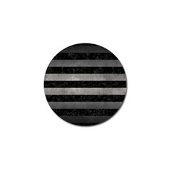 Stripes2 Black Marble & Gray Metal 1 Golf Ball Marker (10 Pack)