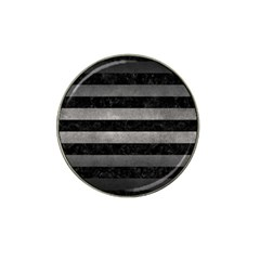 Stripes2 Black Marble & Gray Metal 1 Hat Clip Ball Marker (4 Pack)