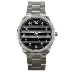 Stripes2 Black Marble & Gray Metal 1 Sport Metal Watch