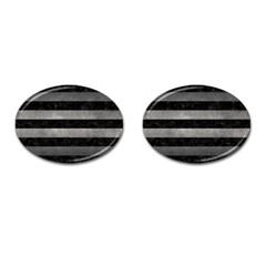 Stripes2 Black Marble & Gray Metal 1 Cufflinks (oval)
