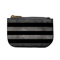 Stripes2 Black Marble & Gray Metal 1 Mini Coin Purses