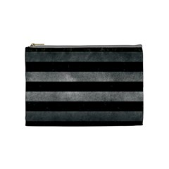 Stripes2 Black Marble & Gray Metal 1 Cosmetic Bag (medium)