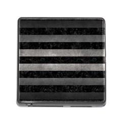 Stripes2 Black Marble & Gray Metal 1 Memory Card Reader (square)