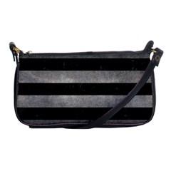 Stripes2 Black Marble & Gray Metal 1 Shoulder Clutch Bags