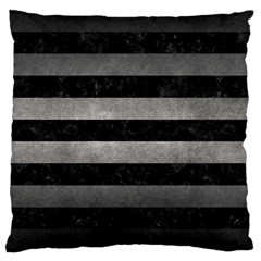 Stripes2 Black Marble & Gray Metal 1 Large Cushion Case (two Sides)