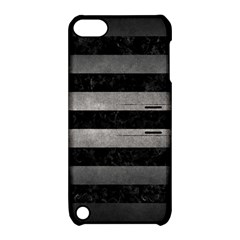 Stripes2 Black Marble & Gray Metal 1 Apple Ipod Touch 5 Hardshell Case With Stand