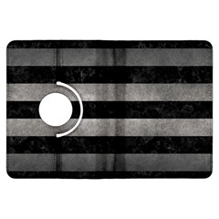 Stripes2 Black Marble & Gray Metal 1 Kindle Fire Hdx Flip 360 Case