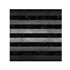 Stripes2 Black Marble & Gray Metal 1 Small Satin Scarf (square)