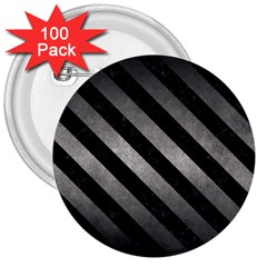 Stripes3 Black Marble & Gray Metal 1 (r) 3  Buttons (100 Pack)