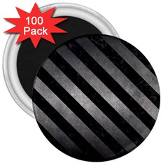 Stripes3 Black Marble & Gray Metal 1 (r) 3  Magnets (100 Pack)