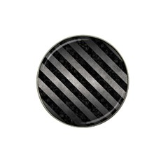 Stripes3 Black Marble & Gray Metal 1 (r) Hat Clip Ball Marker
