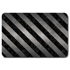 Stripes3 Black Marble & Gray Metal 1 (r) Large Doormat