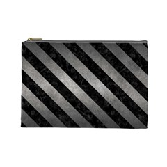 Stripes3 Black Marble & Gray Metal 1 (r) Cosmetic Bag (large)
