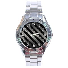 Stripes3 Black Marble & Gray Metal 1 (r) Stainless Steel Analogue Watch