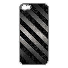 Stripes3 Black Marble & Gray Metal 1 (r) Apple Iphone 5 Case (silver)