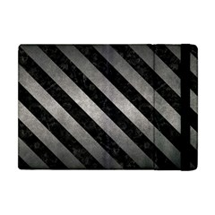 Stripes3 Black Marble & Gray Metal 1 (r) Apple Ipad Mini Flip Case