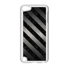 Stripes3 Black Marble & Gray Metal 1 (r) Apple Ipod Touch 5 Case (white)