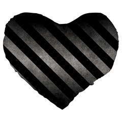 Stripes3 Black Marble & Gray Metal 1 (r) Large 19  Premium Heart Shape Cushions
