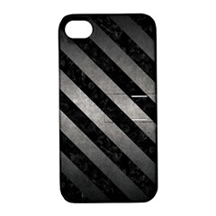 Stripes3 Black Marble & Gray Metal 1 (r) Apple Iphone 4/4s Hardshell Case With Stand