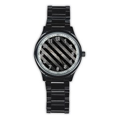 Stripes3 Black Marble & Gray Metal 1 (r) Stainless Steel Round Watch