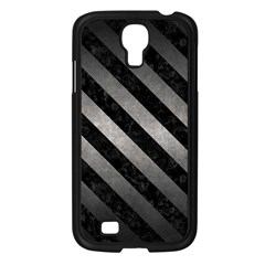 Stripes3 Black Marble & Gray Metal 1 (r) Samsung Galaxy S4 I9500/ I9505 Case (black)