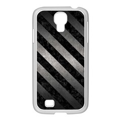 Stripes3 Black Marble & Gray Metal 1 (r) Samsung Galaxy S4 I9500/ I9505 Case (white)