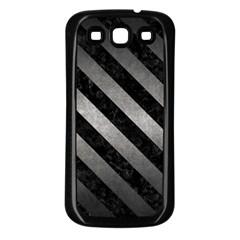 Stripes3 Black Marble & Gray Metal 1 (r) Samsung Galaxy S3 Back Case (black)