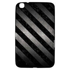 Stripes3 Black Marble & Gray Metal 1 (r) Samsung Galaxy Tab 3 (8 ) T3100 Hardshell Case