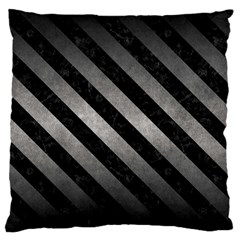 Stripes3 Black Marble & Gray Metal 1 (r) Standard Flano Cushion Case (two Sides)