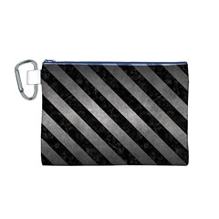 Stripes3 Black Marble & Gray Metal 1 (r) Canvas Cosmetic Bag (m)