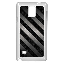 Stripes3 Black Marble & Gray Metal 1 (r) Samsung Galaxy Note 4 Case (white)