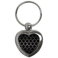 Tile1 Black Marble & Gray Metal 1 Key Chains (heart)