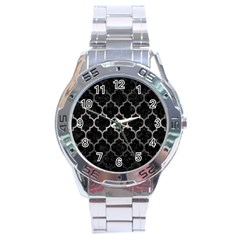 Tile1 Black Marble & Gray Metal 1 Stainless Steel Analogue Watch