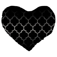 Tile1 Black Marble & Gray Metal 1 Large 19  Premium Flano Heart Shape Cushions