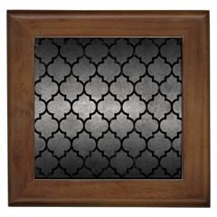Tile1 Black Marble & Gray Metal 1 (r) Framed Tiles