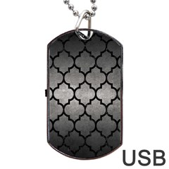 Tile1 Black Marble & Gray Metal 1 (r) Dog Tag Usb Flash (two Sides)